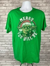 Disney Star Wars Yoda Christmas T-Shirt- Merry You Will Be Size L - $15.63