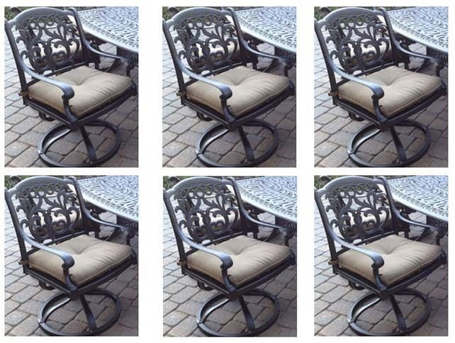 Patio set of 6 swivel rocker dining chairs outdoor Cast Aluminum Flamingo Bronze
