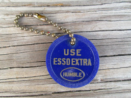 Use Esso Extra Humble Vintage Key Fob Chain Blue Chip Seguin Texas Local... - $1.97