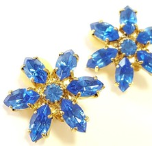 VTG Rhinestone Earrings Blue Clip On Bling Sparkle Shiny Flower Floral Gold - $24.72