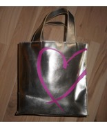 VICTORIA'S SECRET GOLD GIFT BAG W/ PINK HEART SUPERMODEL MAKEUP COSMETIC... - $15.11