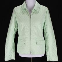 Ann Taylor Loft Quilted Jacket Coat Sz 10 Green Lightweight Spring Zip F... - $21.99
