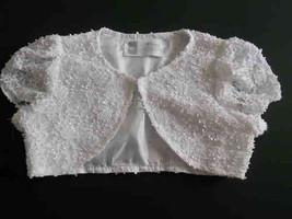 Girls Lace Bolero Jacket with Cap Sleeve - Daisy Wedding Shrug - $14.99