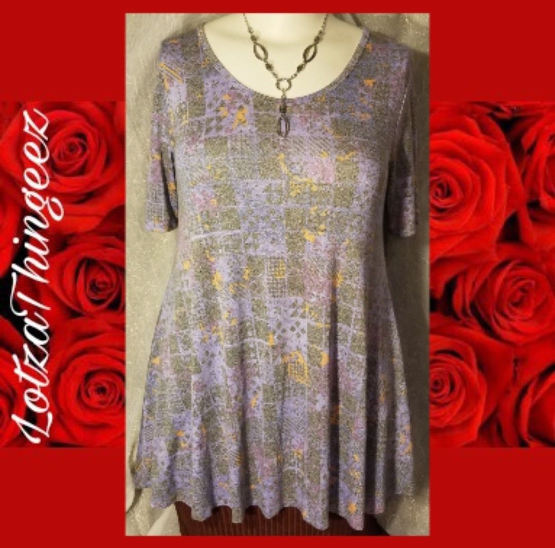 New LuLaRoe Perfect T Tee Shirt S Heather Gray Purple Multi Geo Floral