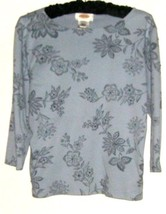 Women's Blue Printed Detail Top Size Sp Talbots - $9.00