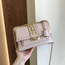 Michael Kors Cece Studded Leather Chain Shoulder Bag Pink Auth - $350.00