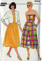 Vintage Fast & Easy Butterick 1980's Strapless Dress and Jacket Sewing Pattern  - $11.95