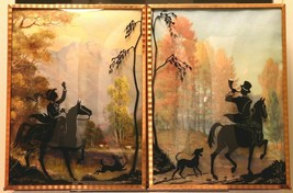 """Set of 2 Convex Glass 6 1/2"""" X 8 1/2"""" Silhouette Pictures Hunt Scenes 153"""