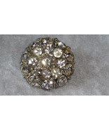 Vintage pin brooch Button clear cluster rhinestone pin some yellowing a bit - $18.00