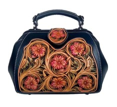 Western Floral Tooled Italian Leather Satchel Handbag Purse Shoulder Bag... - $189.95