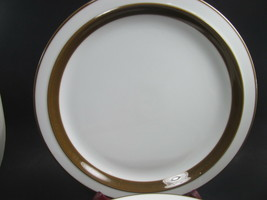 6 Mikasa Metro White Brown Rim Dinner Plates  L4825 Bundle of 6 - $23.91
