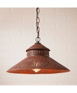 Country new handcrafted rusty punch tin shade hang light / nice - $94.98