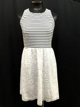 Kensie Dress Sleeveless Back Zipper Striped Lace Contrast Black White Size S - $41.99
