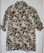 XXL Hawaiian Shirt Black Tan Leaves 2XL 100% Cotton Campia Korea Floral ... - $27.15