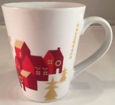 New~Starbucks Holiday houses Neighborhood Homes Christmas mug Cup Red Go... - $6.47