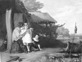LITTLE ARCHERS Family Children Shooting Arrows Bow - VICTORIAN Antique P... - $8.96