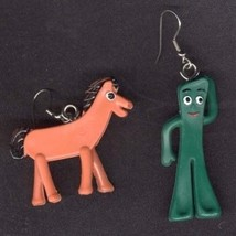 GUMBY & POKEY EARRINGS Vintage Retro Cartoon Character Toy Funky Costume... - $14.97