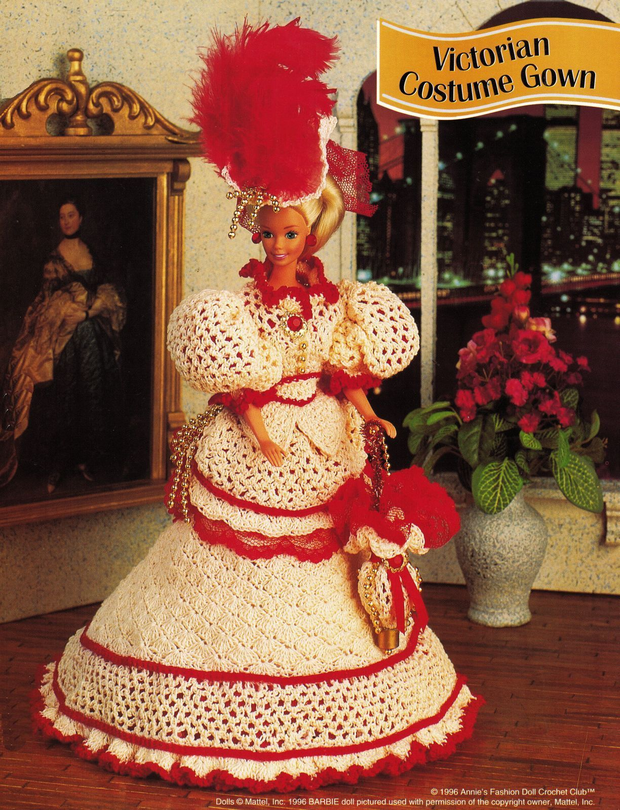 Victorian Cotillion Hoop 17th Century Barbie 11-1/2 Doll Clothes Crochet Pattern image 2
