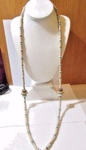 VERY LONG PLASTIC BEADED NECKLACE BLUE BROWN BEIGE SHAPES DISKS WHEELS  - $22.00