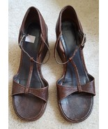 Coach Doreen brown Lizard leather strappy heel sandals Size 6.5 width B - $22.00
