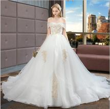 White Sweet Ball Gown Wedding Dress With Lace Appliqued Bridal Gowns Cus... - $193.88