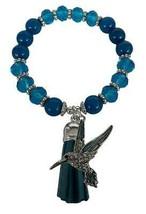 Hummingbird Blue Glass & Semi Precious Stone Tassel Stretch Bracelet Jewelry - $15.83