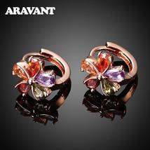 925 Silver Flower AAA Zircon Rose Gold Earring 11mm Hoop Earrings For Women Fash - $16.13