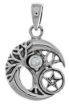 Jewelry Trends Sterling Silver Small Celtic Tree of Life Moon and Star P... - $33.99
