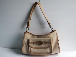 """Etienne Aigner Tan/Caramel Nylon Faux Leather Shoulder Bag 8"""" H x 11"""" L - $19.31"""