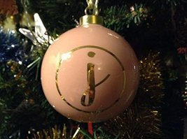 Letter J in Gold on Pink Ceramic Monogram Ornament