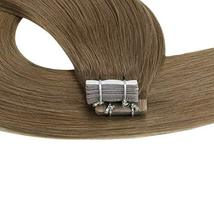 Moresoo 24 Inch Glue in Human Hair Extensions Tape in Human Hair Color Brown Ski image 7