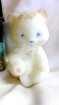 Fenton Art Glass 1985 Peach Meadow Blooms Bear Figurine MIB 5151 PZ - $125.00