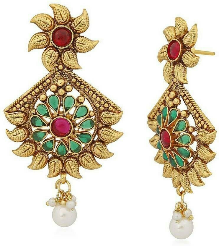 Multi Color Indian Traditional Gold Plated Fashion Temple Jewelry Necklace Set image 3
