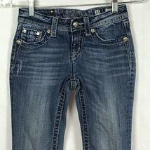 Miss Me Jeans Girls Size 14 Jeans Fleur De Lis BLING Bootcut Distressed B6-9 image 3