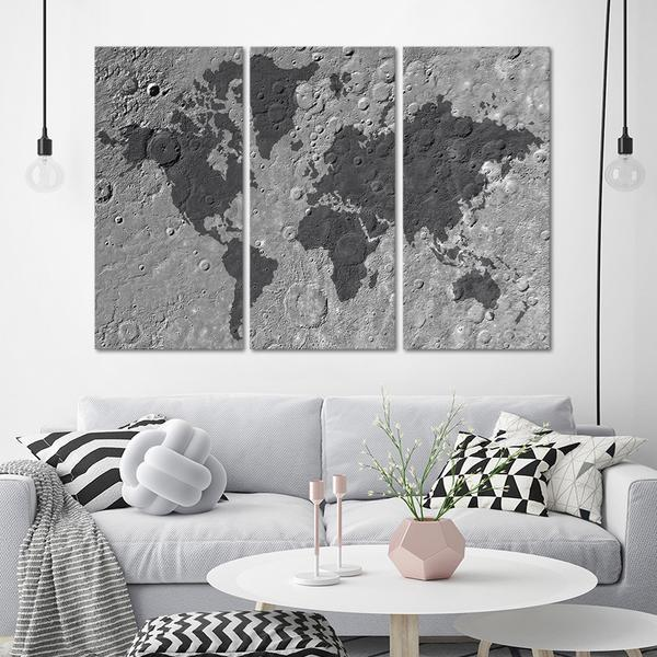 Framed 3 Piece Moon World Map Canvas And 49 Similar Items