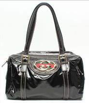 Auth OLD Gucci Vintage GG Boston Bag Black Leather PVC Inner Pocket Logo... - $515.79