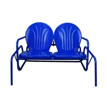 "LB International 41"" Electric Blue Retro Metal Tulip Outdoor Double Glider - $172.00"