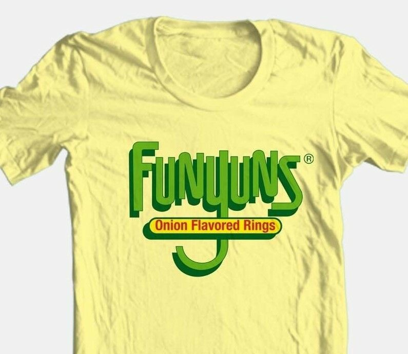 Funyons T-shirt retro 1980's vintage brand 100% cotton graphic yellow tee