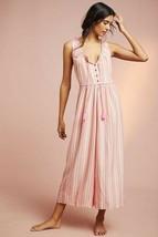 New Anthropologie Visayas Striped Jumpsuit $120 SMALL  Orange Pink - $60.39