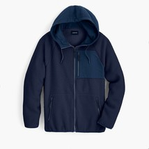 J. Crew Sherpa zip-front Hooded Jacket Size Large Navy - $76.57