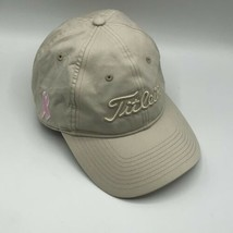 Titleist Womens Pink Ribbon Beige Cap Hat Embroidered Hook Loop 100% Cotton - $19.99