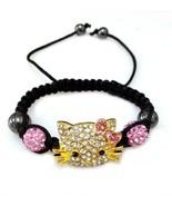 Hello Kitty Handmade Homans Girls Black Shamballa Bracelet - $7.89