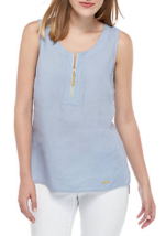NWT ELLEN TRACY BLUE ZIP FRONT LINEN TOP BLOUSE TUNIC SIZE L - $28.49