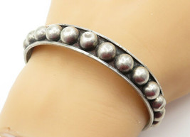 MEXICO 925 Silver - Vintage Dome Decorated Round Bangle Bracelet - B6358 - $50.96