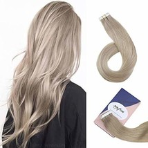 RUNATURE Tape in Hair Extensions 22 Inch Straight Long Ash Blonde Hair Extension
