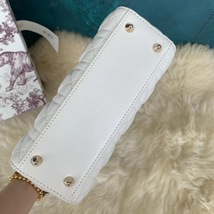 100% AUTH Christian Dior White Lady Dior Cannage Lambskin Shoulder Tote Bag GHW image 6