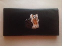 Yorkshire Terrier Leather Checkbook Cover Yorkie Dog Breed Gifts - $21.00