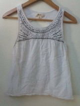 Mossimo Womens size S Beaded White 100% Cotton Muslin Tank Top Key Hole Back - $12.95