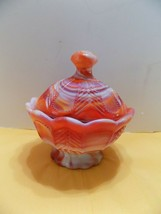 SLAG GLASS LIDDED DISH IMPERIAL END OF DAY  RED, ORANGE, WHITE  HEAVY  N... - $7.26