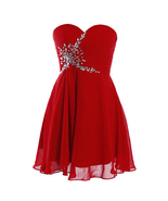 Red  Beaded Short Cocktail Dresses 2018  Sexy Cheap Bridesmaid Gowns Mini  - $52.00